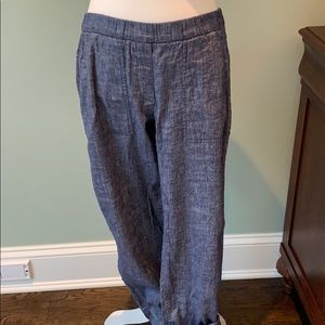 Theory light navy linen pants
